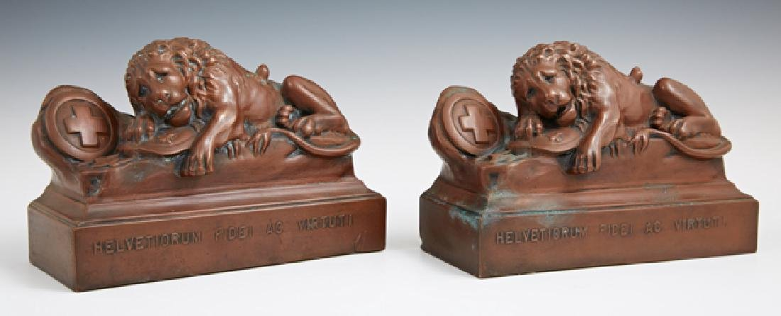 Pair of Lion of Lucerne Bronze Clad Bookends, early