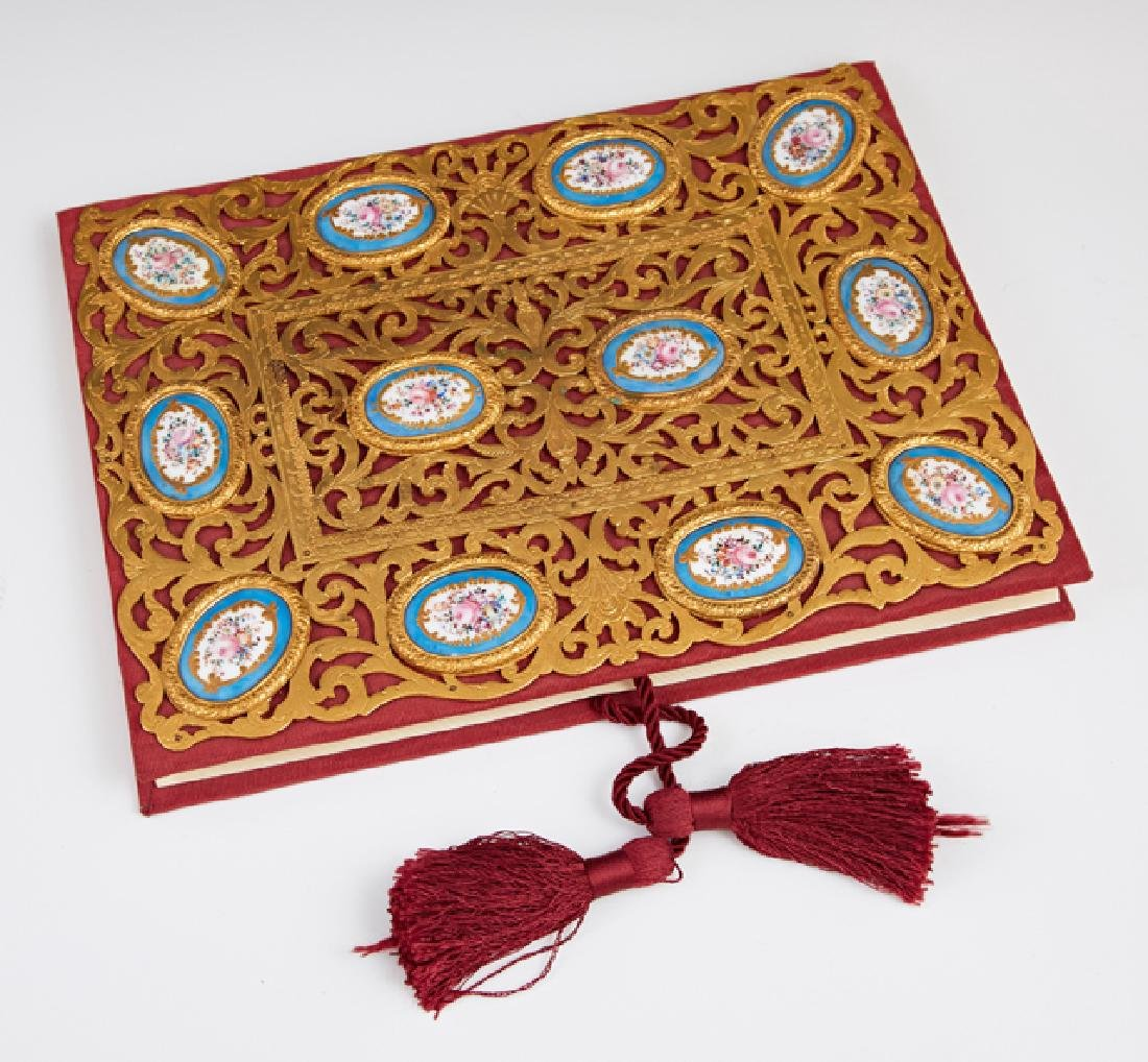 Unusual Porcelain and Brass Mounted Portfolio Cover,