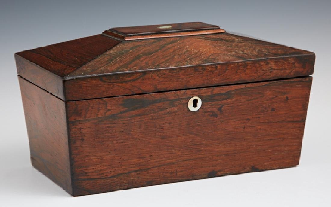 English Carved Rosewood Tea Caddy, early 19th c., of