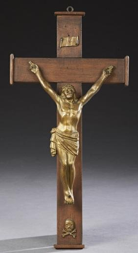 Large Gilt Spelter and Mahogany Crucifix, early 20th