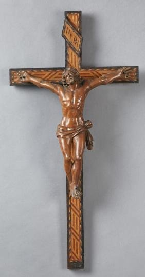 Large French Carved Walnut and Cherry Crucifix, early