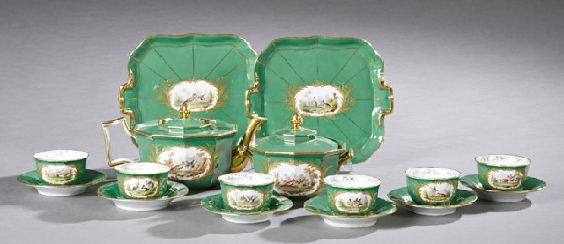 French Sixteen Piece Old Paris Porcelain Tea Set, 19th