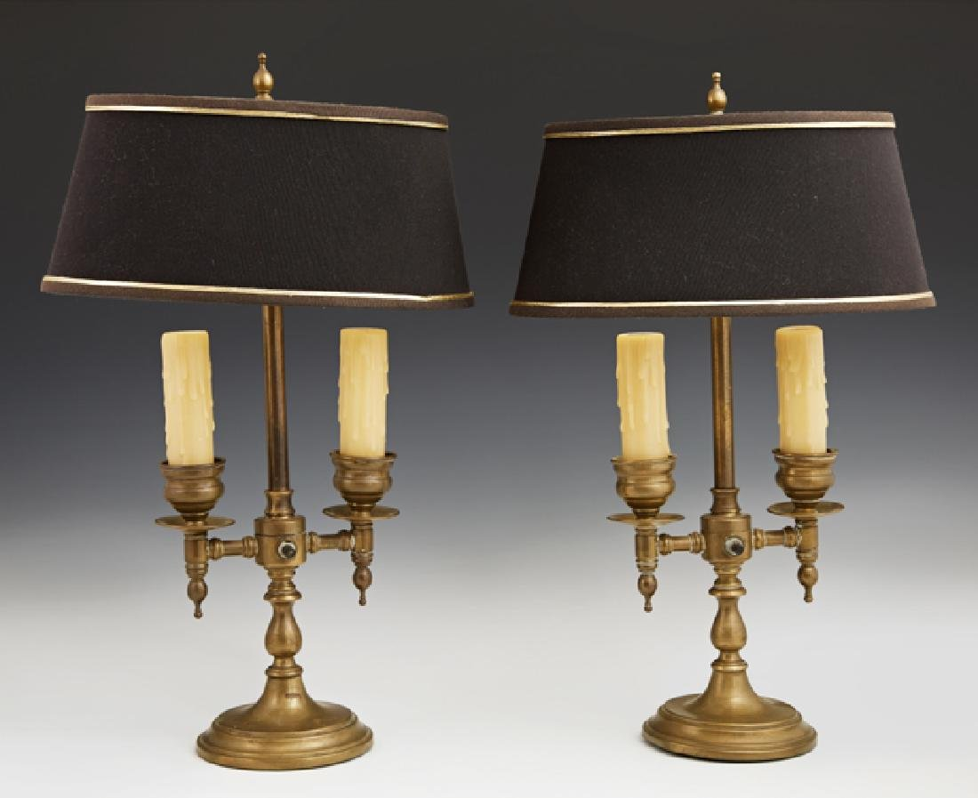 Pair of Brass Two Light Bouillotte Lamps, 20th c., with