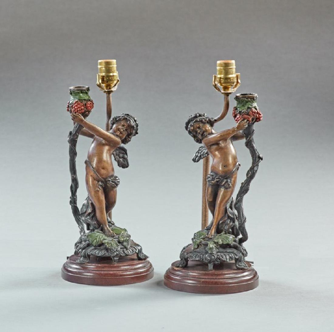 Pair of Polychromed and Patinated Bronze Putto Single - 2