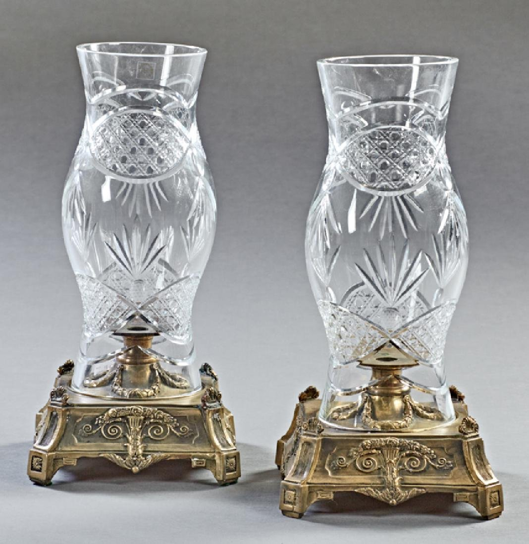 Pair of Brass and Pressed Glass Hurricane Candelabra,