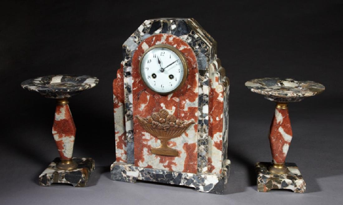 Three Piece Art Deco Breche D'Alpes Marble Clock Set,