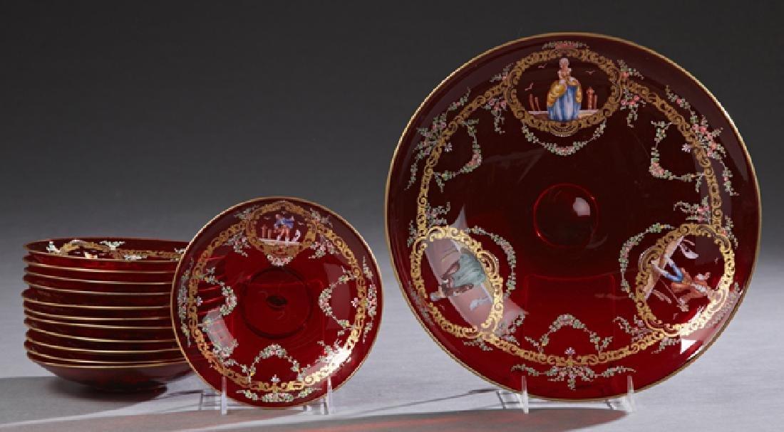 Thirteen Piece Moser Ruby Glass Dessert Set, 19th c.,