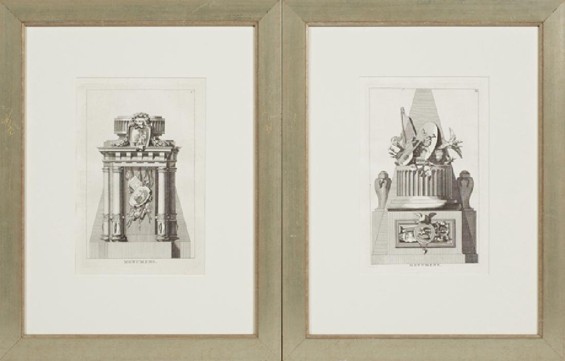 """Jean Charles Delafosse, """"Monumens,"""" late 18th c., pair"""