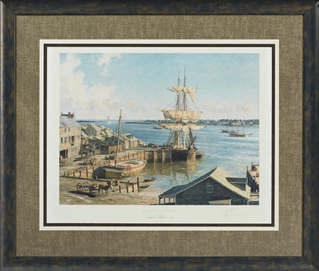 "John Stobart (1929- ), ""Marblehead, Appleton's Wharf,"