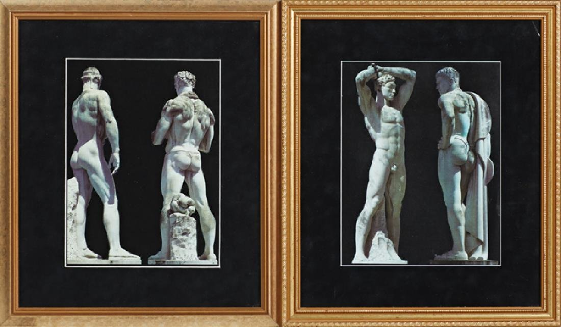 Nude Male Statuary, 20th c., pair of prints, presented