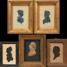 Group of Five Miniature Portraits, 19th c., consisting