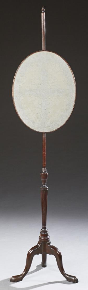 English Victorian Pole Screen, late 19th c., the