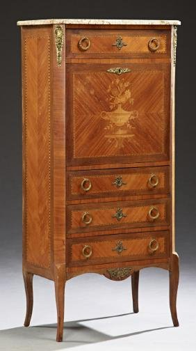 French Louis XV Style Marquetry and Parquetry Inlaid