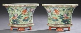 Two Chinese Porcelain Famille Verte Jardinieres on