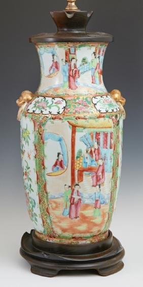 Large Chinese Famille Rose Baluster Vase, 19th c., with