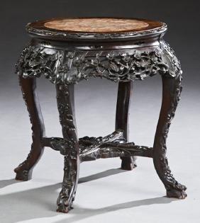 Chinese Carved Mahogany Marble Top Tabouret, early 20th