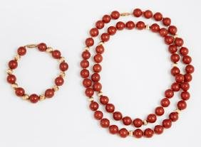 14K Yellow Gold and Red Coral Bead Necklace and