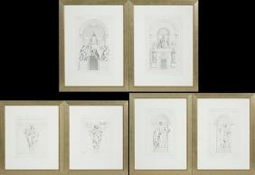 Group of Six Black and White Prints of Vatican