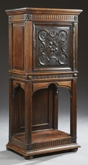 French Renaissance Style Carved Walnut Cabinet, 19th