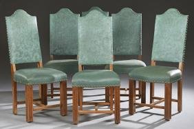 Set of Six French Carved Walnut Renaissance Style High