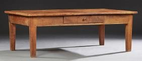 French Louis Philippe Carved Cherry Farmhouse Table,