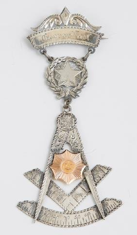 Masonic Silver and Gold Presentation Badge, 1894, for