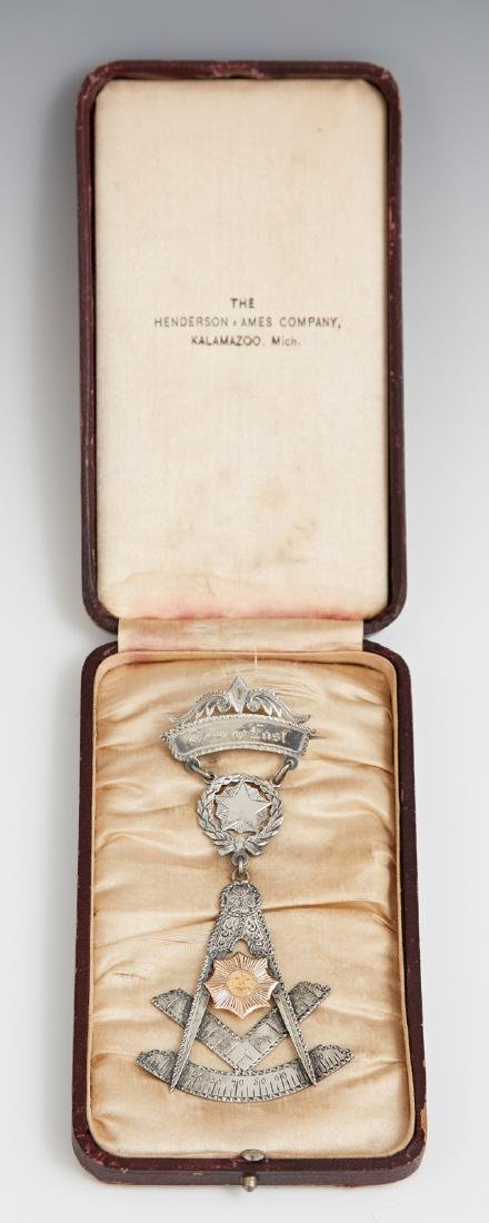Masonic Silver and Gold Presentation Badge, 1894, for - 2