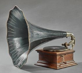 French Carved Oak Table Top Gramophone, late 19th c.,