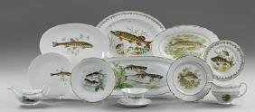 French Forty-Nine Piece Assembled Set of Porcelain Fish