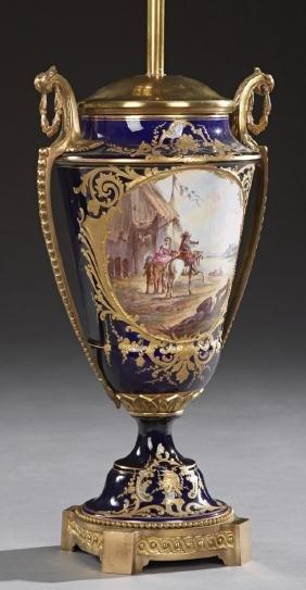 Sevres Style Cobalt Porcelain Bronze Mounted Urn, early