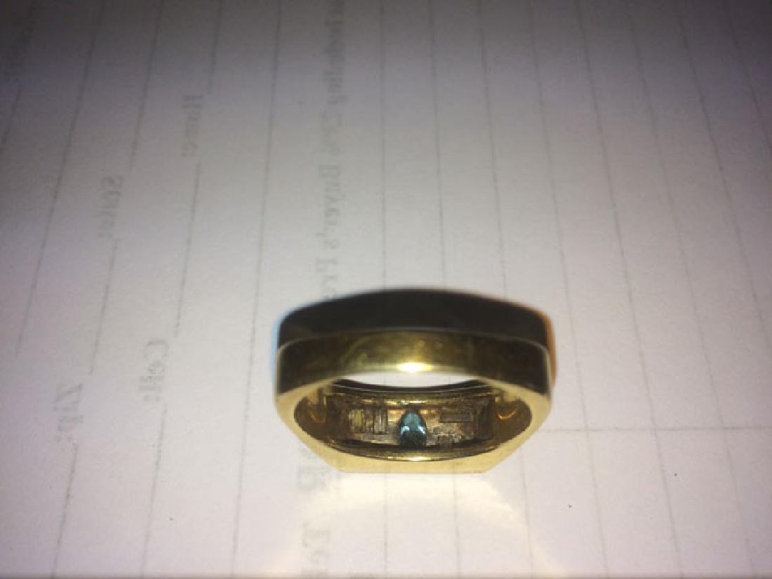 Man's 18K Yellow Gold Dinner Ring, the rectangular top - 3