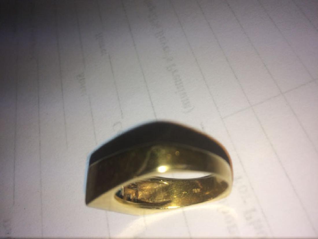 Man's 18K Yellow Gold Dinner Ring, the rectangular top - 4