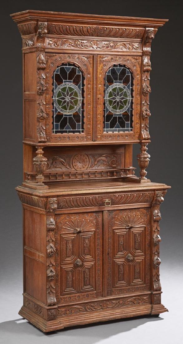 Continental Carved Oak Jacobean Style Buffet a Deux