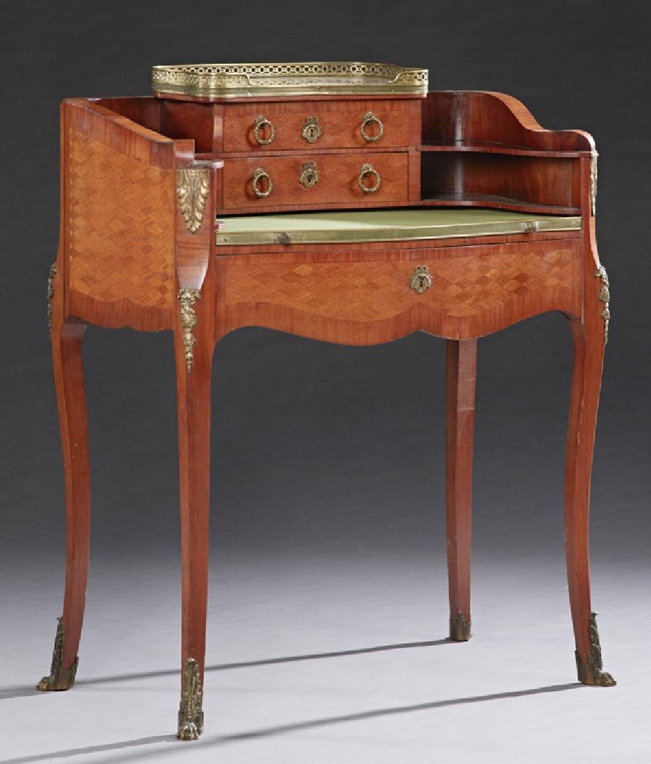French Louis XV Style Ormolu Mounted Bowfront Marble