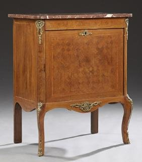 French Louis XV Style Parquetry Inlaid Ormolu Mounted