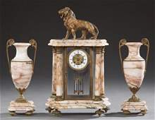 French Three Piece Gilt Bronze and Pink Marble Clock