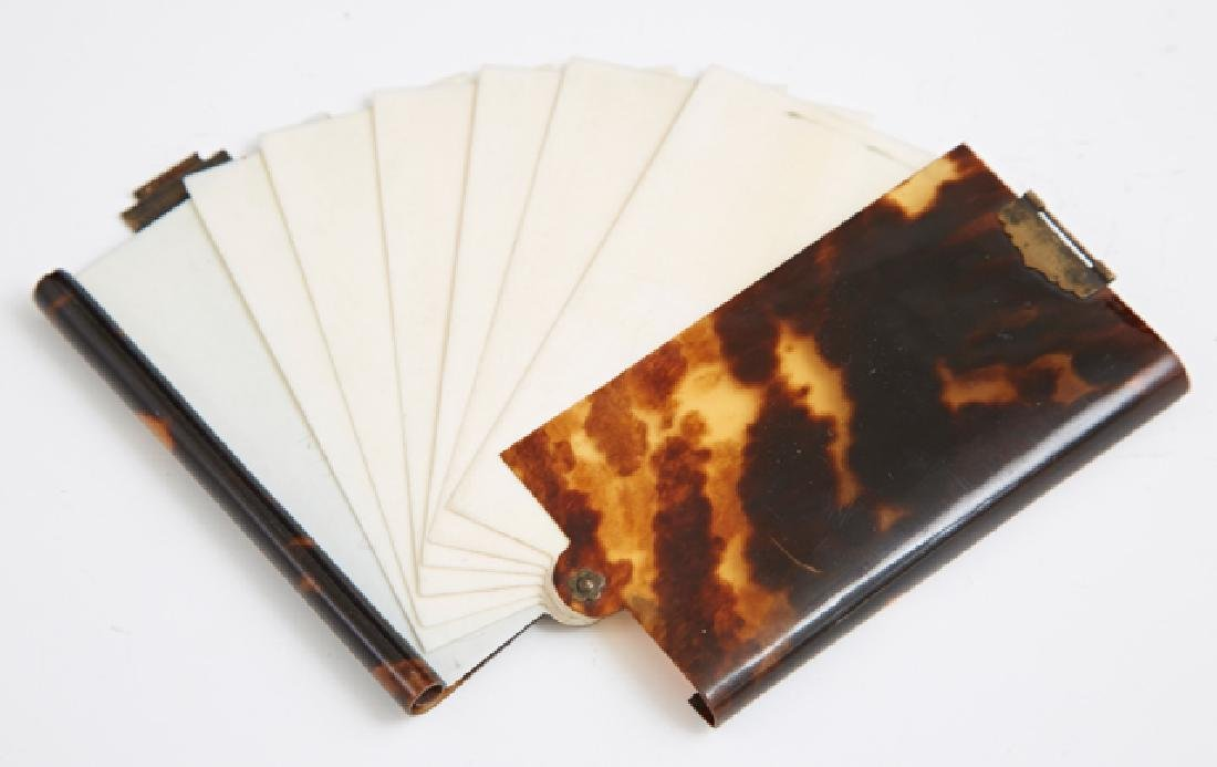 English Tortoise Shell Notebook, c. 1900, with seven - 2