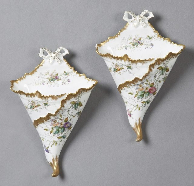 Pair of French Porcelain Wall Pockets, late 19th c., by