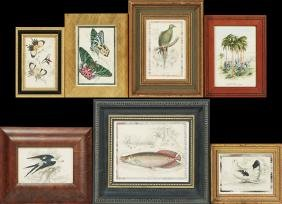 Group of Seven Miscellaneous Framed Pieces, consisting