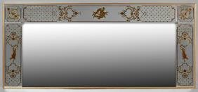 Italian Style Eglomise Overmantle Mirror, 20th c., with