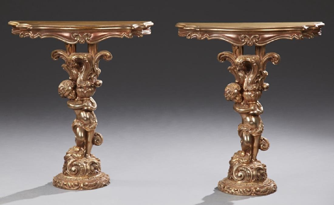 Pair of Continental Style Side Tables, 20th c., the