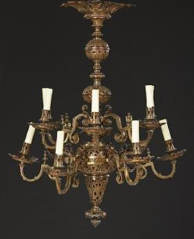 French Bronze Twelve Light Louis XVI Style Chandelier,