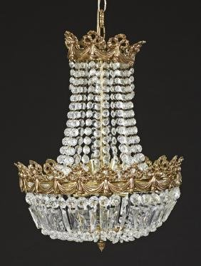French Louis XVI Style Brass Six Light Chandelier, 20th