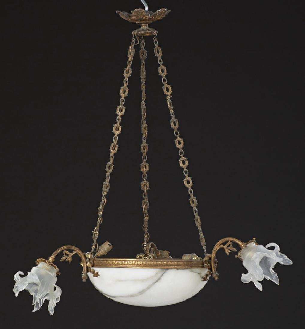 French Alabaster and Gilt Spelter Six Light Bowl