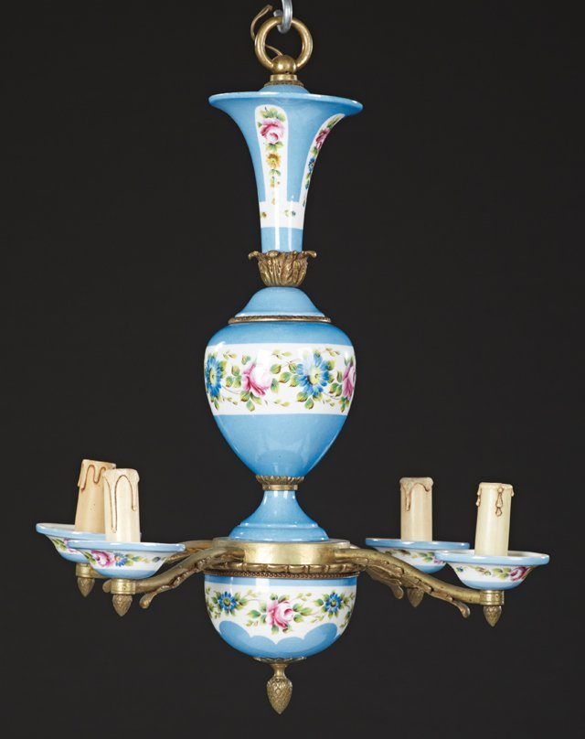 French Sevres Style Bronze and Porcelain Four Light