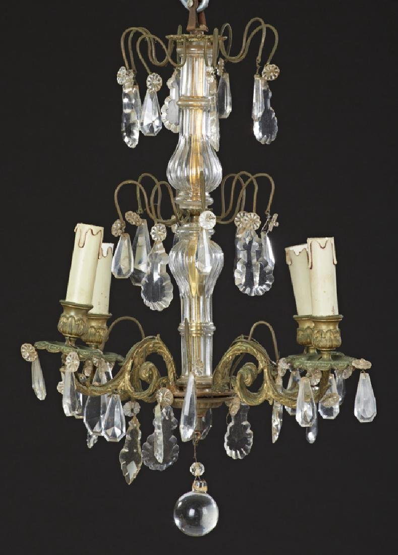 French Brass Louis XV Style Four Light Chandelier, late