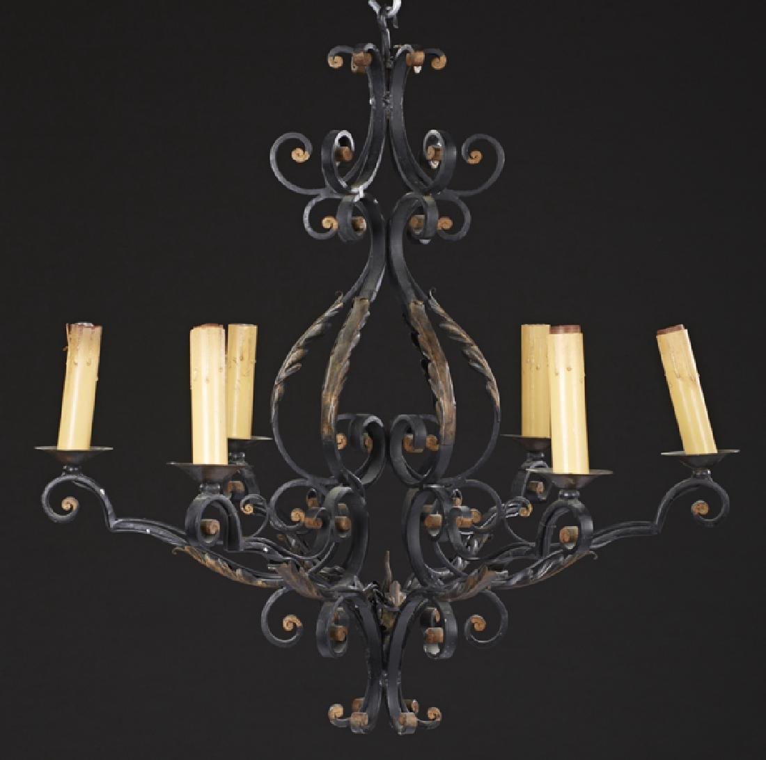 Continental Style Wrought Iron Six Light Basket
