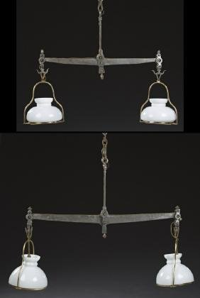 Unusual Pair of French Steel and Brass Double Light