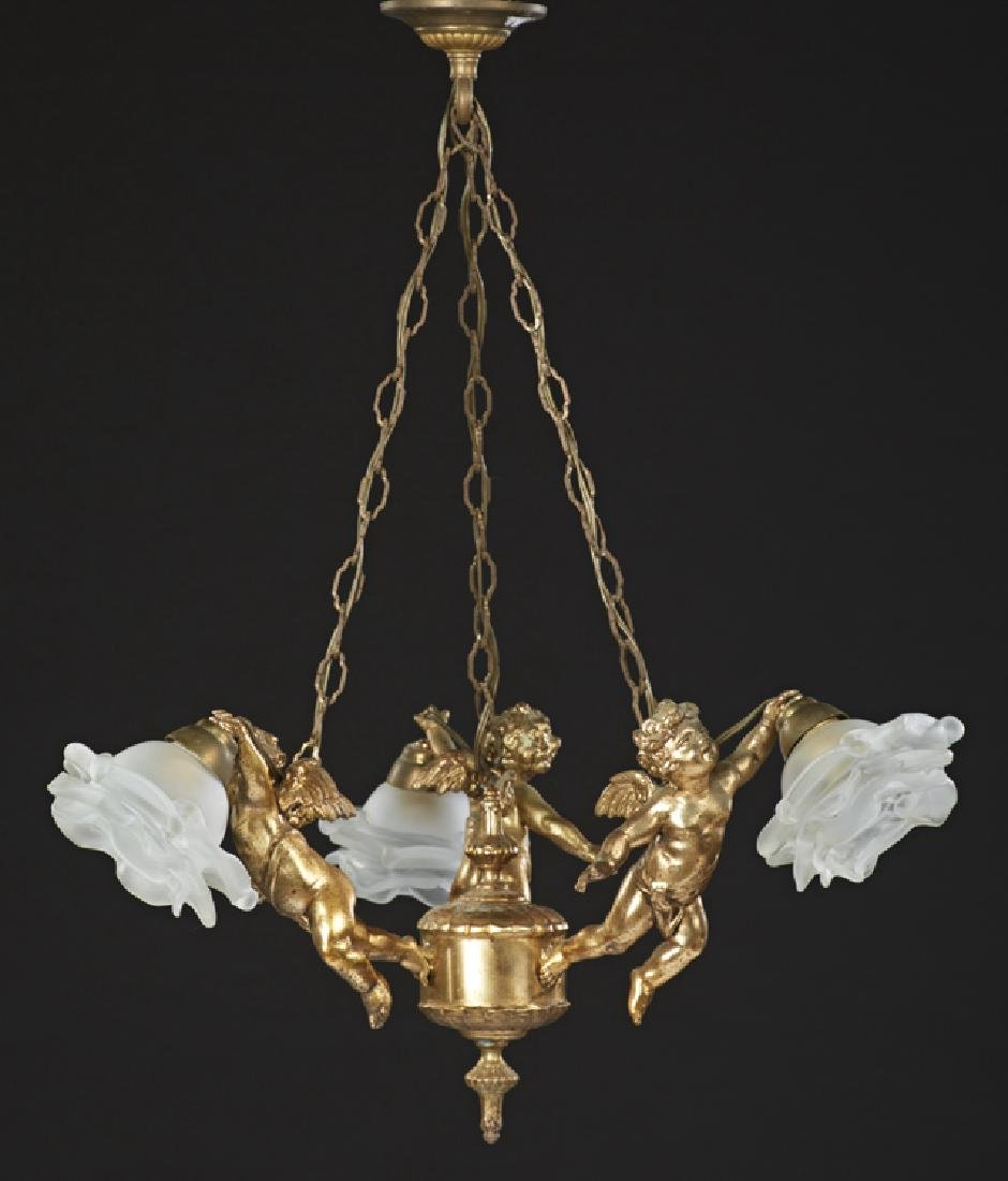 Diminutive French Gilt Bronze Figural Three Light