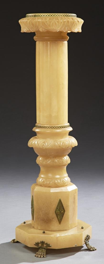 French Bronze Mounted Carved Alabaster Column, early